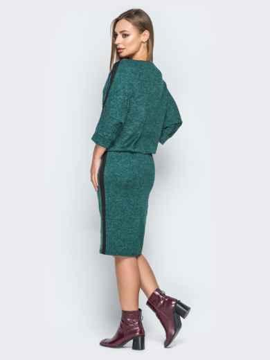 Зеленое платье с напуском и лампасами - 19245, фото 3 – интернет-магазин Dressa