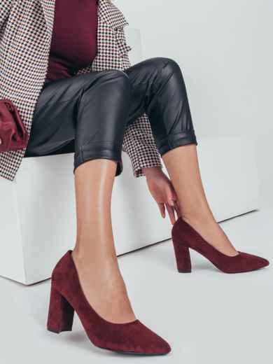 Бордовые туфли из искусственной замши на устойчивом каблуке 50491, фото 1