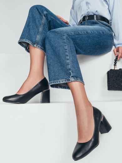 Чёрные туфли из искусственной кожи на каблуке 50492, фото 1