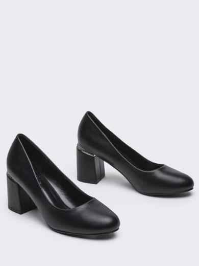 Чёрные туфли из искусственной кожи на каблуке 50492, фото 2