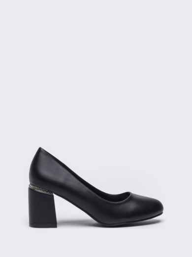Чёрные туфли из искусственной кожи на каблуке 50492, фото 4