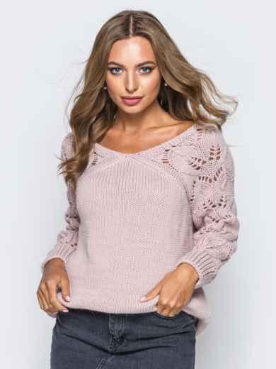 Джемпер с ажурными рукавами розовый - 13104, фото 3 – интернет-магазин Dressa