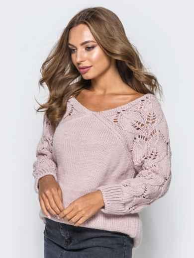 Джемпер с ажурными рукавами розовый - 13104, фото 4 – интернет-магазин Dressa