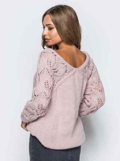 Джемпер с ажурными рукавами розовый - 13104, фото 5 – интернет-магазин Dressa
