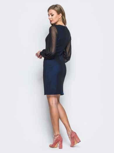 Платье из фактурного фатина с фурнитурой по горловине синее - 18011, фото 2 – интернет-магазин Dressa