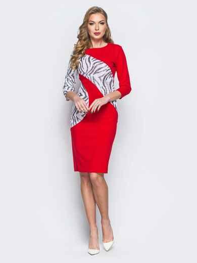 Платье из креп-дайвинга с контрастными пайетками красное - 18055, фото 1 – интернет-магазин Dressa