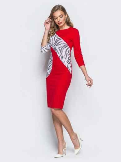 Платье из креп-дайвинга с контрастными пайетками красное - 18055, фото 2 – интернет-магазин Dressa