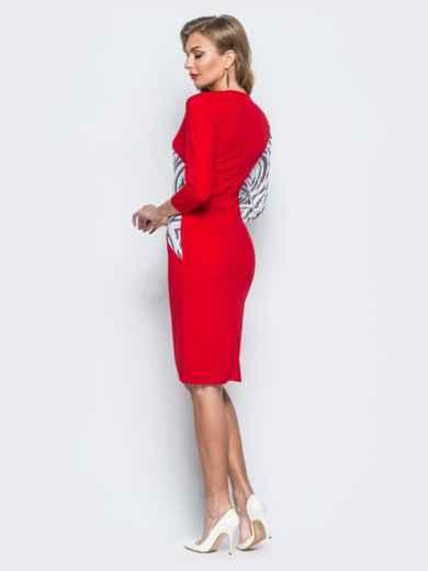 Платье из креп-дайвинга с контрастными пайетками красное - 18055, фото 3 – интернет-магазин Dressa