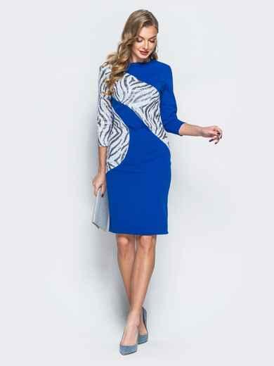 Платье из креп-дайвинга с контрастными пайетками синее - 18056, фото 1 – интернет-магазин Dressa