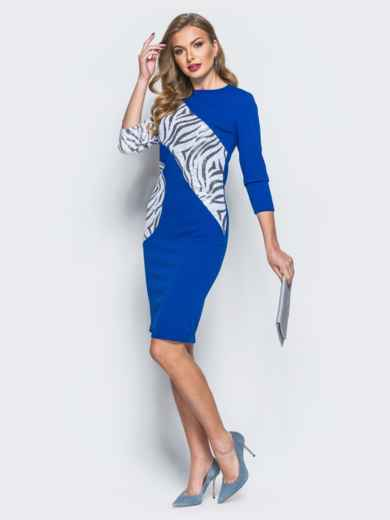 Платье из креп-дайвинга с контрастными пайетками синее - 18056, фото 2 – интернет-магазин Dressa