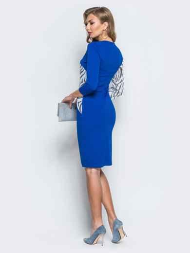 Платье из креп-дайвинга с контрастными пайетками синее - 18056, фото 3 – интернет-магазин Dressa