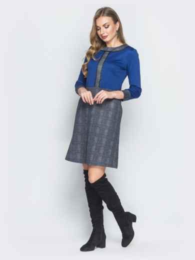 Платье из полированной ангоры с синим верхом - 18483, фото 2 – интернет-магазин Dressa