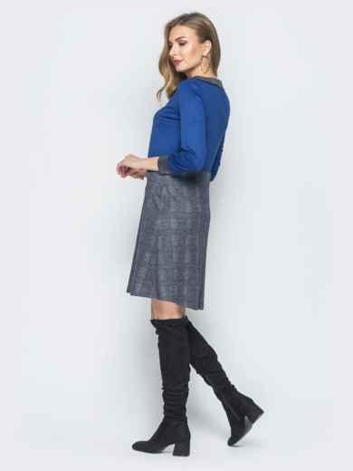 Платье из полированной ангоры с синим верхом - 18483, фото 3 – интернет-магазин Dressa