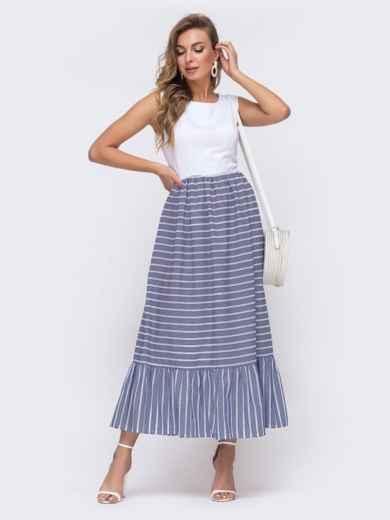 Платье-макси приталенного кроя с юбкой в полоску синее 48154, фото 1
