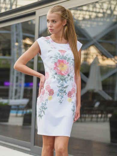 Платье приталенного силуэта с нежным принтом 13433, фото 1