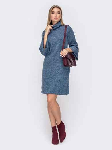 платье с воротником-стойкой и рукавом-колокол синее 41325, фото 1