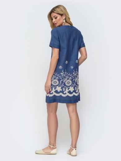 Платье-трапеция с вышивкой по низу синее 46716, фото 2