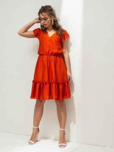 """Терракотовое платье с принтом и рукавом """"крылышко"""" 46864, фото 1"""