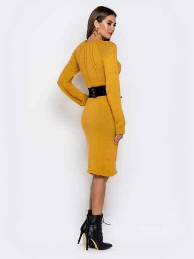 Вязаное платье-миди с косами по лифу горчичное - 41156, фото 3 – интернет-магазин Dressa