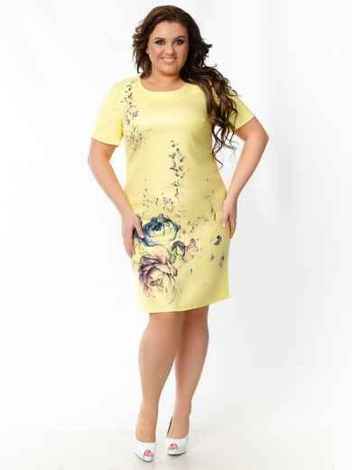 Жёлтое платье батал приталенного силуэта с принтом 49051, фото 1