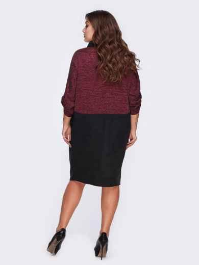 Бордовое платье-рубашка с контрастными вставками - 20590, фото 2 – интернет-магазин Dressa