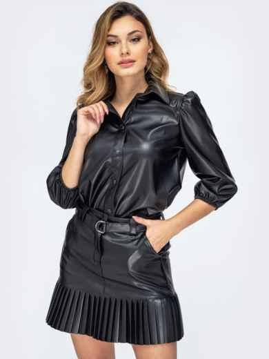 Чёрная рубашка из эко-кожи с рукавами-буфами 44887, фото 1