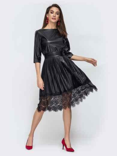 Чёрное платье из эко-кожи с плиссированой юбкой 44897, фото 1