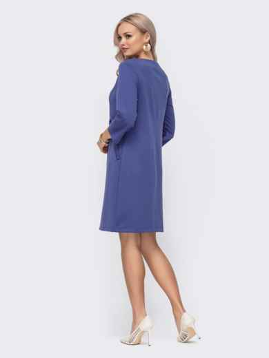 Фиолетовое платье прямого кроя с модельной кокеткой 50821, фото 2