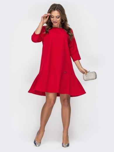 Красное платье с плиссировкой по низу 44891, фото 1