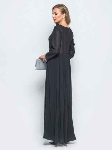 Платье с расклешенной юбкой и клеевой фурнитурой черное - 18188, фото 2 – интернет-магазин Dressa