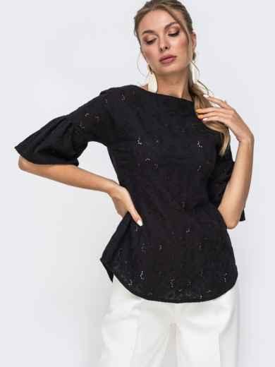 Приталенная блузка из прошвы черного цвета 49506, фото 1