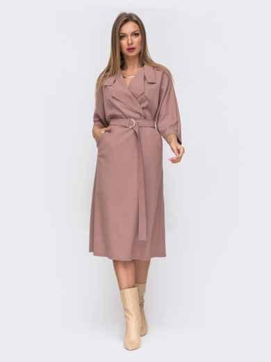 Розовое платье с лацканами и цельнокроеным рукавом 50819, фото 2