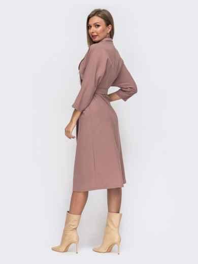 Розовое платье с лацканами и цельнокроеным рукавом 50819, фото 3