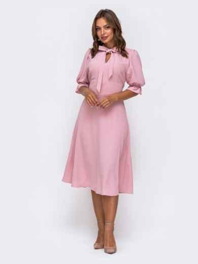 Розовое платье с воротником-аскот и рукавом-фонарик 50133, фото 1