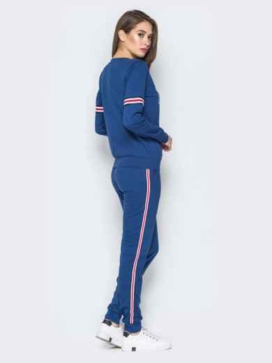 Синий костюм с лампасами на свитшоте и брюках - 19798, фото 2 – интернет-магазин Dressa
