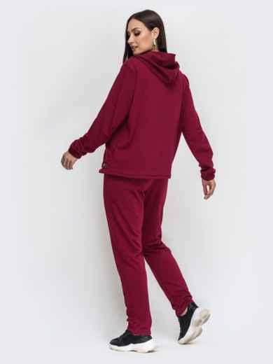 Спортивный костюм большого размера бордовый 44478, фото 2