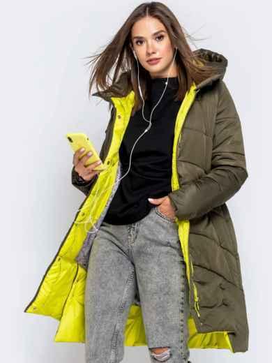 Зимняя куртка цвета хаки с капюшоном на кулиске 40140, фото 1