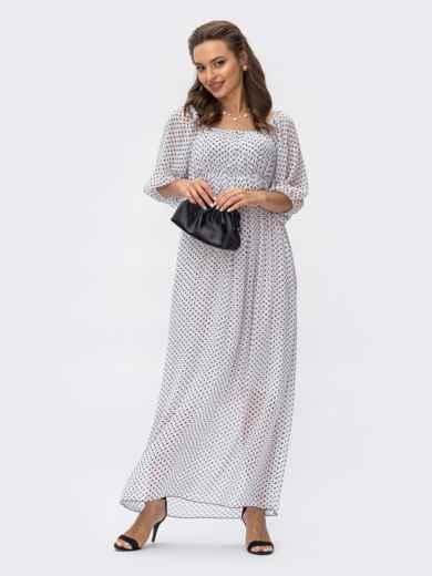 Шифоновое платье-макси в горох с завышенной талией белое 54379, фото 1