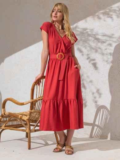 Расклешенное платье кораллового цвета с воланом по низу 49367, фото 1