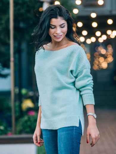 Джемпер с удлиненной спинкой и спущенным плечом бирюзовый - 13114, фото 2 – интернет-магазин Dressa