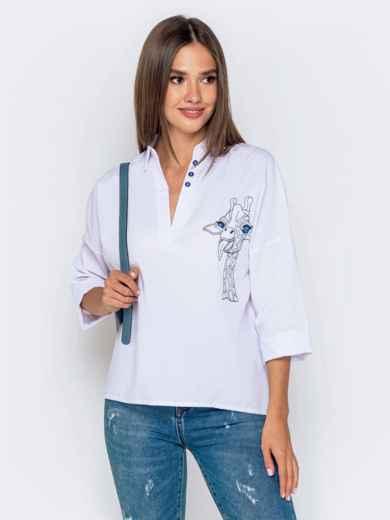 Хлопковая блузка свободного кроя с авторской вышивкой белая 40833, фото 1