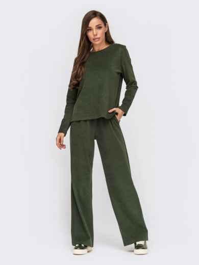 Брючный комплект цвета хаки из джемпера и широких брюк 55417, фото 1