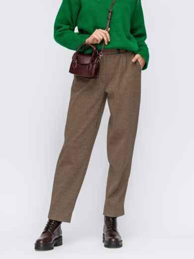 Бежевые брюки прямого кроя из жаккарда 55246, фото 1