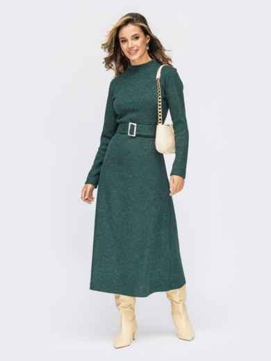 Расклешенное платье из трикотажа с поясом темно-зеленое 55315, фото 1