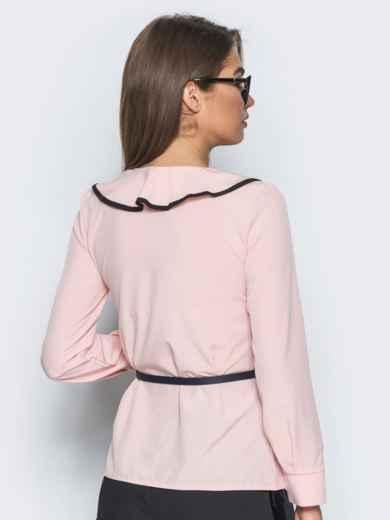 Блузка с контрастной отделкой по оборке на горловине пудровая - 13277, фото 2 – интернет-магазин Dressa