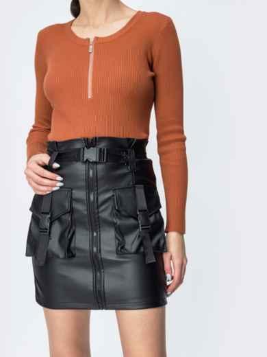 Чёрная юбка из эко-кожи с накладными карманами 44834, фото 1