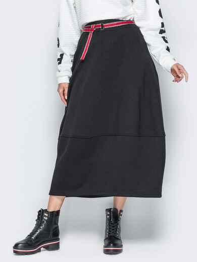Черная юбка на флисе с поясом в комплекте 19177, фото 1