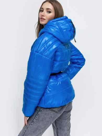 Демисезонная куртка с капюшоном синяя 45254, фото 2