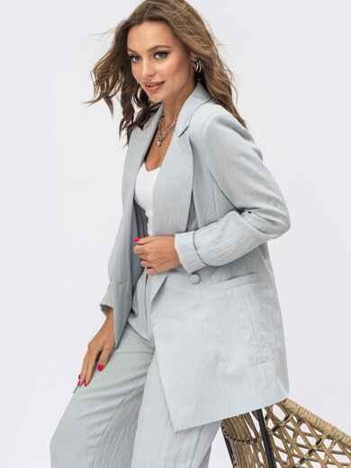 Голубой двубортный пиджак из льняной ткани без подкладки 54098, фото 1