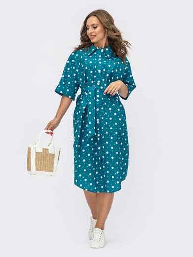 Хлопковое платье-рубашка в горох с цельнокроеным рукавом бирюзовое 54022, фото 1
